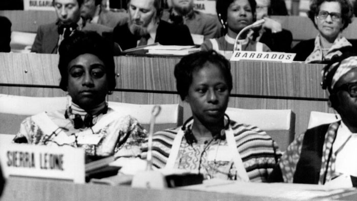 Representatives of various countries listening intently.