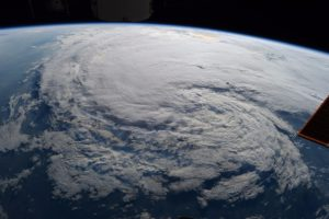 View of the cloud accumulation caused by Hurricane Harvey from outer space.