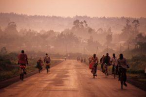 People completing their morning commute in Eldoret, Kenya.