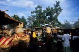Morning trading at the food produce market in Kakamega Village.
