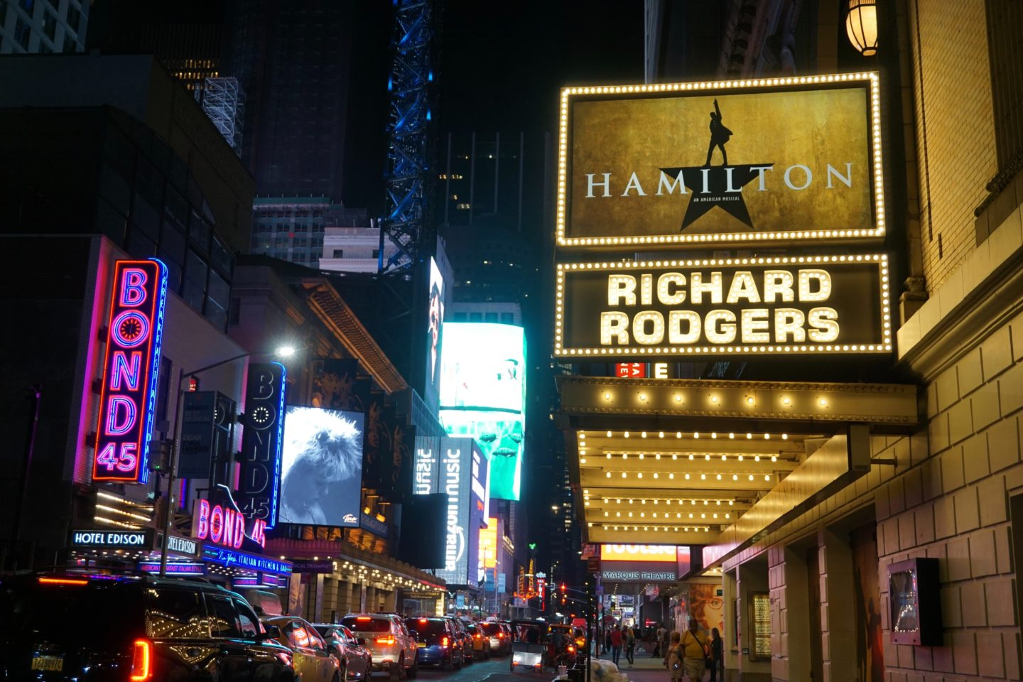 """Broadway show """"Hamilton"""" taking place at the Richard Rogers theater."""