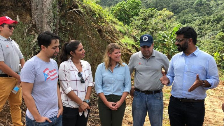 Lin-Manuel Miranda and his father, Luis Miranda, Jr., and Puerto Rico's first lady Beatriz Roselló join the RF staff for a walking tour and coffee tasting to support the island's coffee industry after Hurricane Maria.