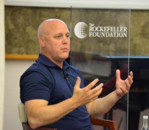 Man speaking at the Controluce Bellagio Solvable Convening