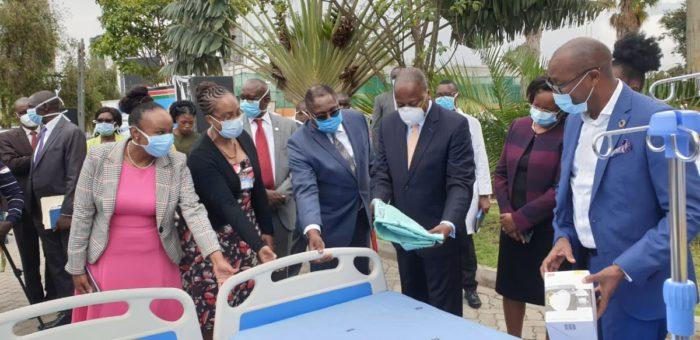 Mutahi Kagwe Amref surveying new hospital equipment