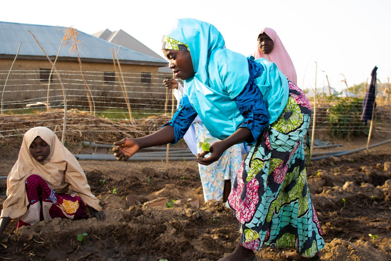 Members of the Farmers' Service Centre at Shika, learning agricultural practices.