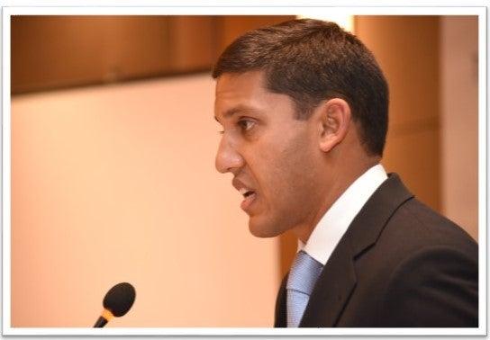 Dr. Rajiv Shah giving a speech.
