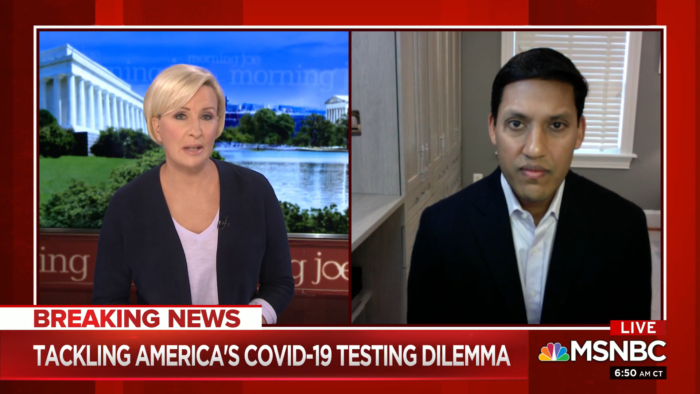 Dr. Rajiv Shah being interviewed on the morning-joe.