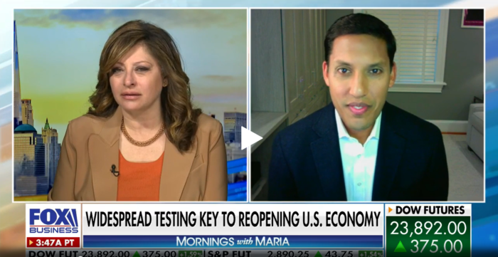 Dr. Rajiv Shah being interviewed by Fox-Business.
