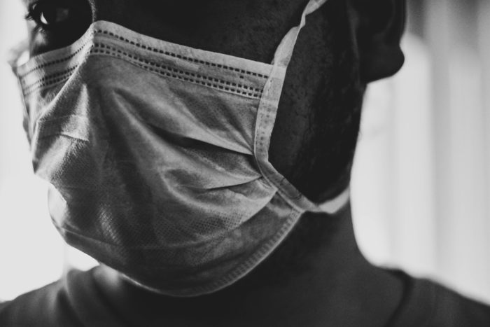 Man wearing protective mask during Covid-19.