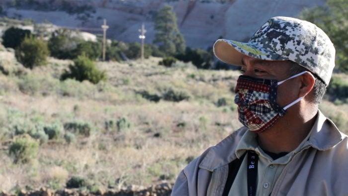 Sam Bayer wearing a mask.