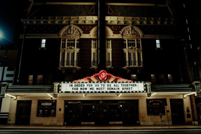 Theater at night.
