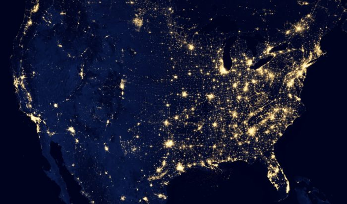 A map from space of the U.S. lit up with cities.