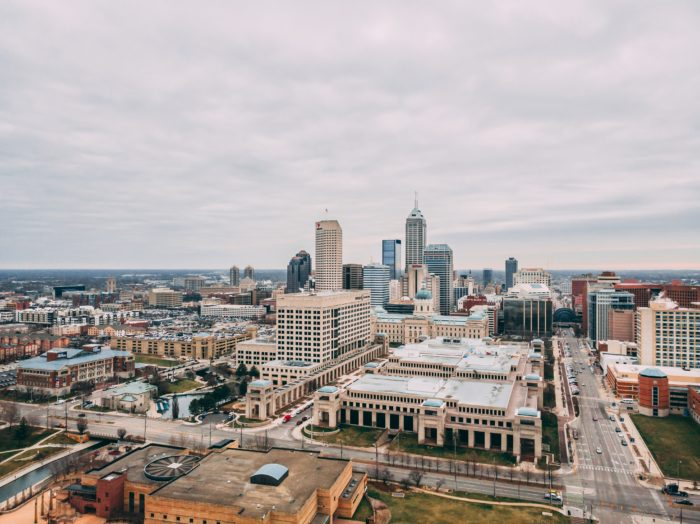 Downtown view of Indianapolis, Indiana.