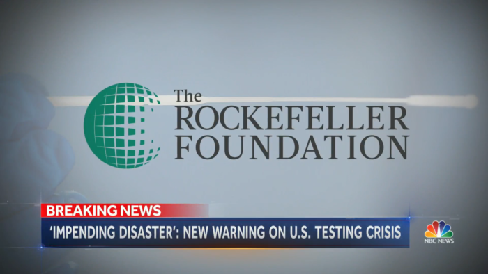 The Rockefeller Foundation logo, Dr. Rajiv J Shah on NBC Nightly News discussing the Foundation's National Covid-19 Testing Plan