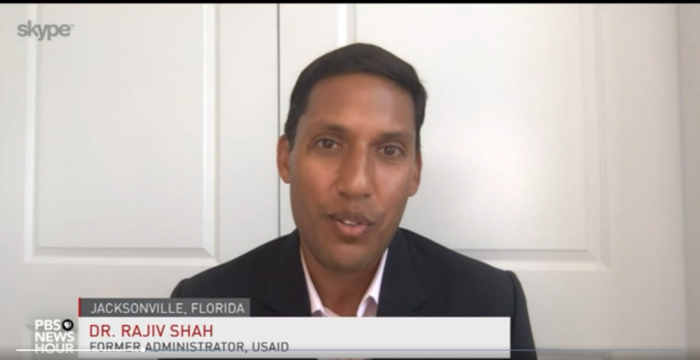 Dr Raj Shah on PBS discussing the Foundation's updated Covid-19 Testing Action Plan
