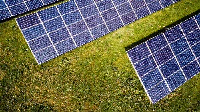 Solar mini-grids located in a field.