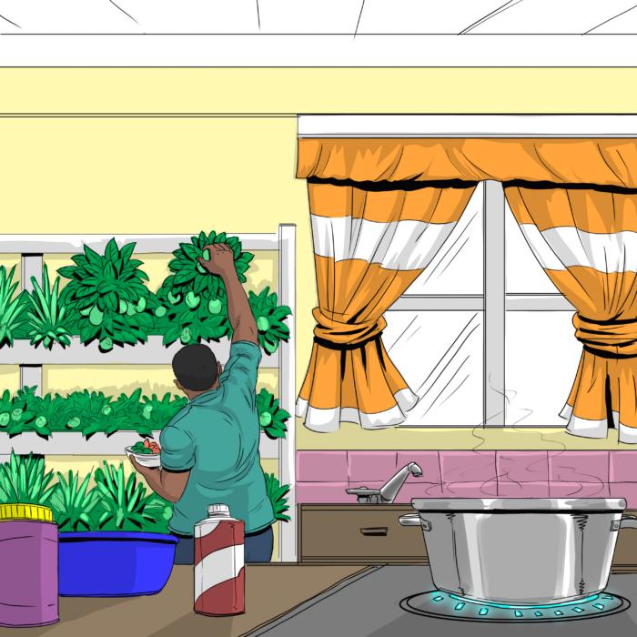 a cartoon illustration of a man with indoor food garden