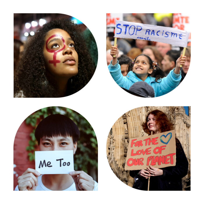 collage of women, womens rights and womens marches
