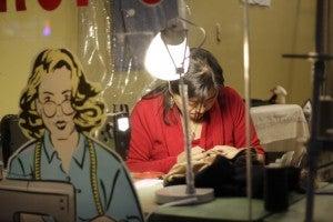Seamstress at work in Greenpoint, Brooklyn.