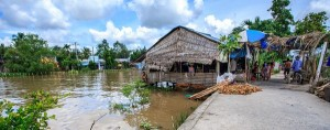 Business built on stilts in Can Tho damaged by flood water.