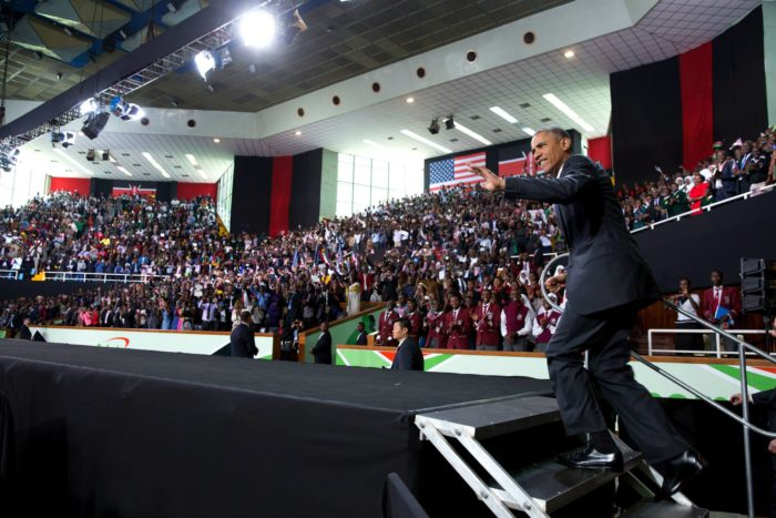 Taking the stage at the Safaricom Indoor Arena. July 30, 2015. (Official White House Photo by Pete Souza).