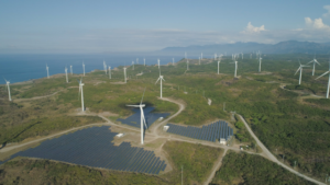 Solar farm with windmills in Luzon, Philipines.
