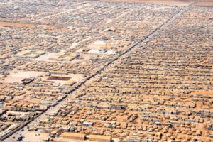 Aerial view of Za'atri refugee camp in Jordan.