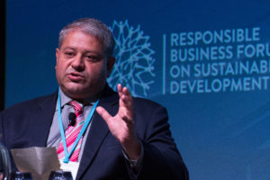 Ashvin Dayal speaking at the Responsible Business Forum in Singapore.