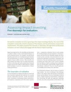 Assessing Impact Investing - Five Doorways for Evaluators