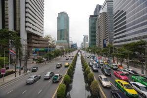 Bustling street in Bangkok, Thailand.