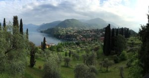 Ariel view of the Bellagio Center, Italy.