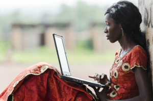 Young woman working on her laptop.