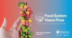 Food System Vision Prize graphic showing a hand holding coffee bean fruit