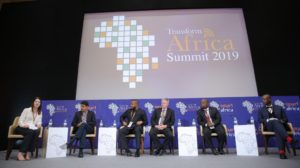 Panelists for the 2019 Transform Africa Summit sitting on stage.