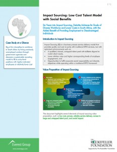 Impact Sourcing - Low Cost Talent Model with Social Benefits