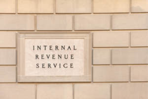 Internal Revenue Service building sign.