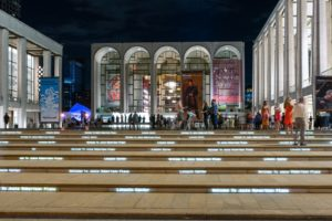 Lincoln Center Plaza at night.