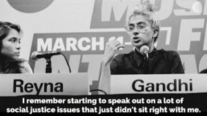 Bellagio Center Youth Resident Kiran Ghandi addressing the audience.