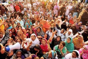 Crowd of female nurses striking in Pakistan.