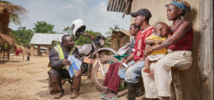 Riders for Health delivering healthcare to villagers in Liberia.