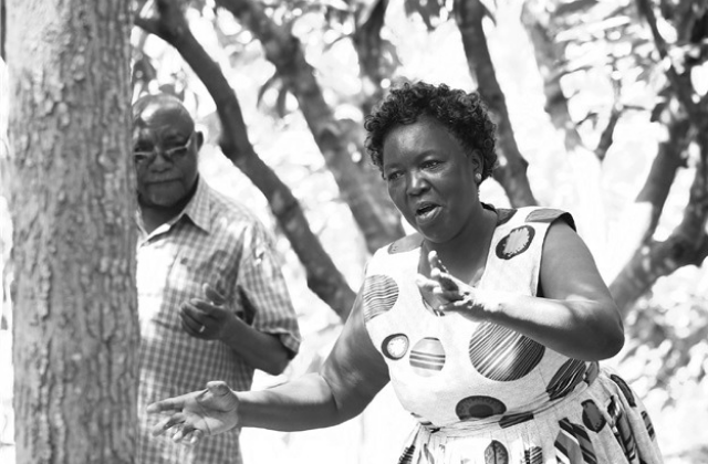 Vice Chair of Kambiti Famers Group Lucy Wacheke gesturing towards a group.