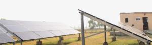 Solar panel grids in a field.
