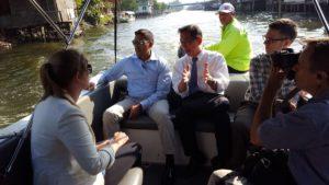 Dr. Rajiv Shah on a canal tour in Bangkok, Thailand.