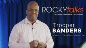 Trooper Sanders giving a presentation at ROCKYtalks.