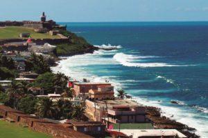 View of the coastline in San Juan, Puerto Rico.
