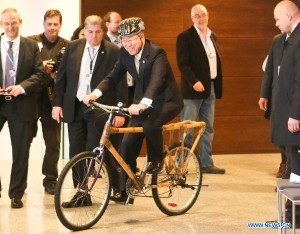 Secretary General Ban Ki Moon on a Bamboo Bike