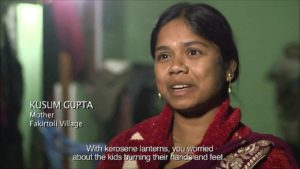Kusum Gupta talking about the impact of having electricity in her village in India.
