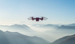 Drone flying over mountains.