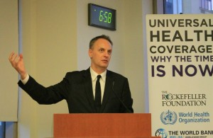 Dr. Richard Horton speaking at the UHC Event.