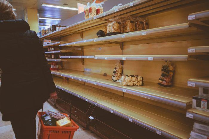 Empty store shelfs.